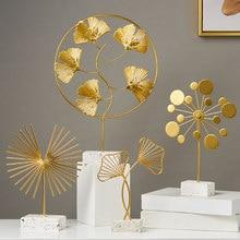 Creative Modern Golden Iron Leaves Ornament Living Room Desktop TV Cabinet Nordic Home Decoration ornaments Desktop Sculpture