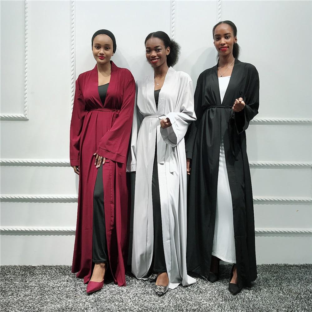 Plain Kimono Abaya Cardigan Turkish Hijab Muslim Dress Saudi Arabia African Dresses For Women Kaftan Dubai Caftan Islam Clothing