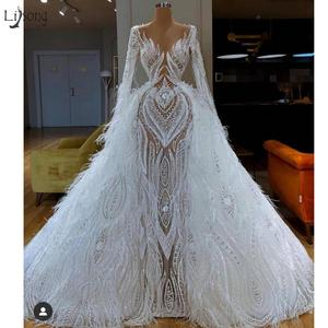 Image 1 - Real Image Luxury Lace Feather Mermaid Wedding Dresses With Detachable Train Modest Full Sleeves Bridal Gowns Robe De Soiree