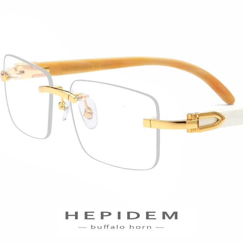 HEPIDEM Buffalo Horn Glasses Frame Men Square High Quality Women Rimless Prescription Eyeglasses Optical Frames Eyewear 8100907