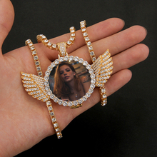 Custom Angel Wings Photo Necklace&Pendant Copper Cubic Zircon Family Memory Medallion Tennis Chain Necklace Hip Hop Jewelry Gift