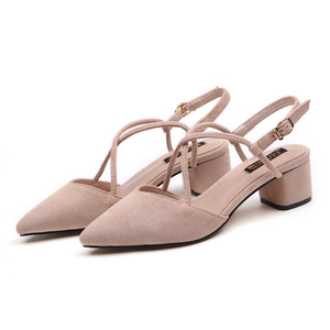 Image 3 - 신발 여성 2020 여름 샌들 여성 스퀘어 하이힐 펌프 여성 샌들 하이힐 신발 숙녀 플록 포인트 발가락 샌들