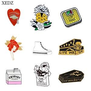 XEDZ new fashion milk box pineapple flower cigarette box dance leg tears love brooch badge collection denim clothing backpack pe(China)