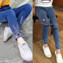 Kidlove Модные осенние джинсы для девочек длинные штаны джинсы с кроликом и вышивкой котенка
