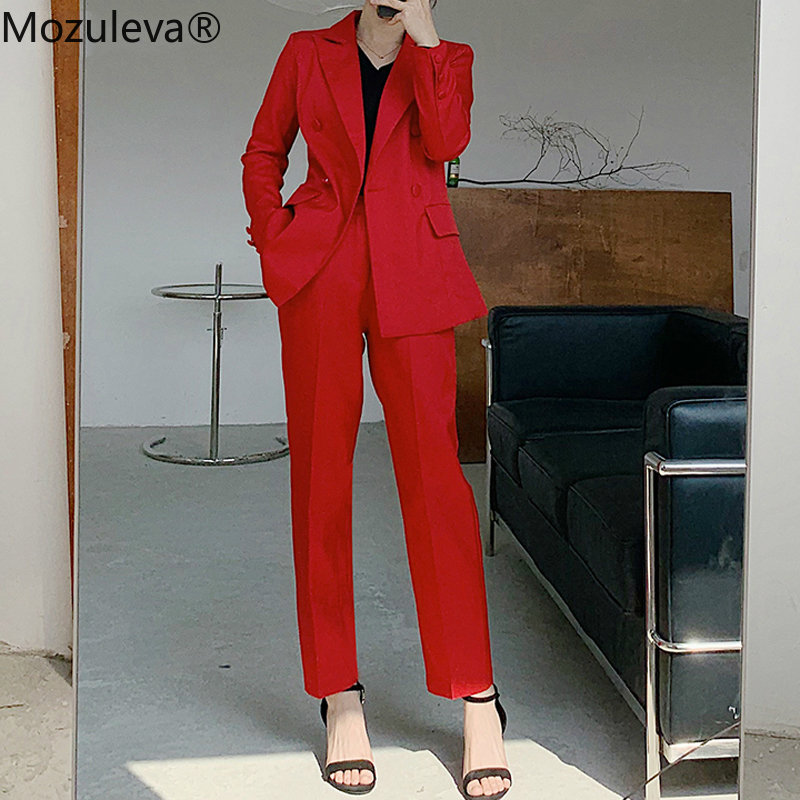 Mozuleva 2020 Notch Collar Double-breasted Women Slim OL Blazer&High Waist Pockets Straight Suit Pants Two Pieces Business Suit