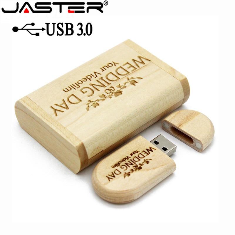 JASTER USB 3.0 Maple Usb With Box USB Flash Drive Pendrive 4GB 16GB 32GB 64GB Photography Gift 1PCS Free Custom Logo