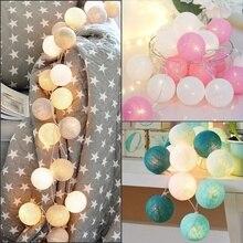 Гирлянда с 20 светодиодными хлопковыми шариками, работающая от батареек, Женская сказочная Гирлянда для дома, свадьбы, Рождества, вечеринки, ...