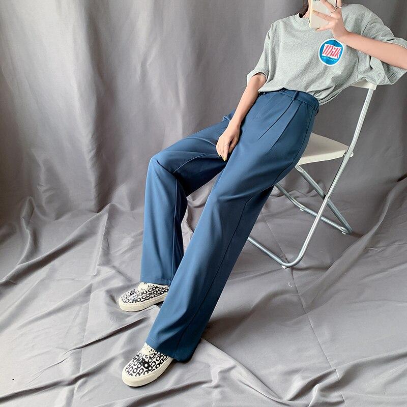 XS-2XL Lengthen Length Solid Pants Women 2020 Summer Elastic Waist High Waist Trouser Female Full Length Pocket Wide Leg Pants