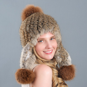 Fur Hat Female Winter Korean Style Rabbit Fur New Style Warm Fur Ball Earmuffs Hat Women Hats