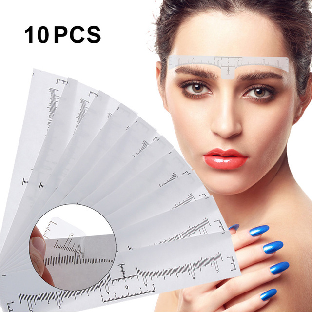New 10PCS Clear Eyebrow Tattoo Stencil Shaper Ruler Sticker Makeup Template Reusable Calliper eyebrow shaping Measure Tool
