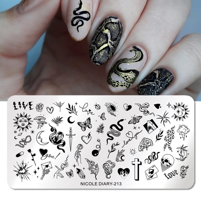 Николь дневник змея Дракон Leopard пластины для штамповки ногтей, геометрическая форма в виде цветов и листьев штамп Шаблоны печать Трафарет И...