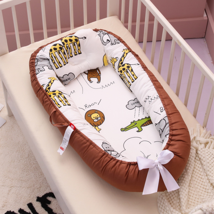 Washable Baby Bed Crib Travel BabyNest  Newborns Sleep Nest Baby Bumper Bed