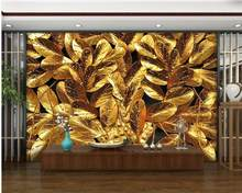 3D Wallpaper Custom Any Size Mural Wallpaper Tree gold leaf TV background wall decoration painting(China)