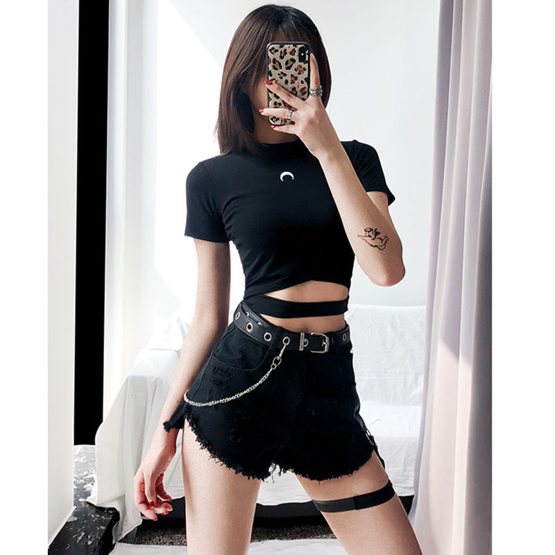 Punk Denim Shorts For Women Sexy Rivet Ring Harness Band Decoration Casual Summer Jeans Shorts Girls Black Shorts