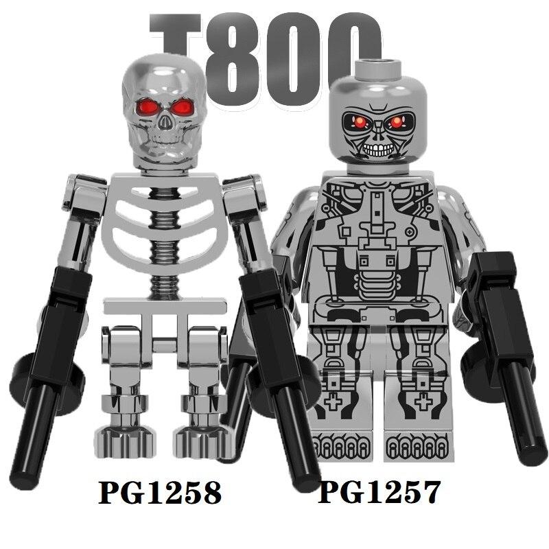 Juguet Building Blocks Terminator Chrowed Silver T800 Models Super Heroes Skeleton Brick Figures For Children Toys PG1258 PG1257