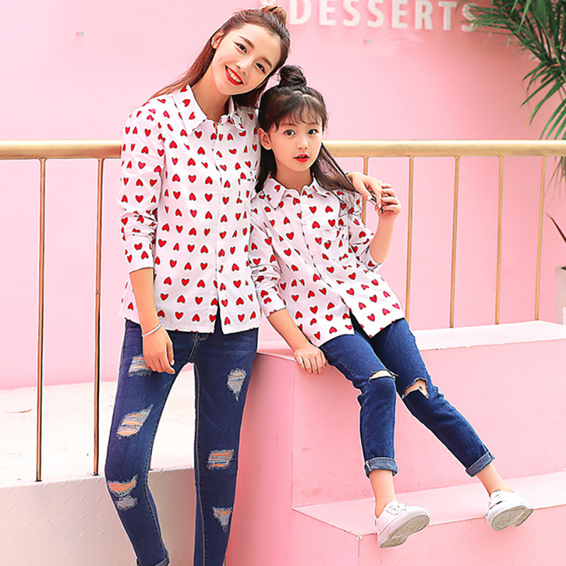 Mommy Kids Matching Shirts Baby Boy Girl Red Sweet Loving Heart Clothes Mother Daughter Son Outfits Dress Family Matching Clothe