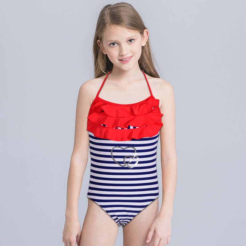 Europe And America Hot Selling Children One-piece Triangular Navy Article Sun Blocking Bathing Suit GIRL'S Surfing Suit