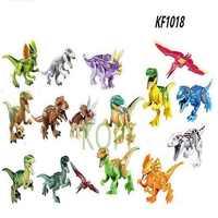 Juego de bloques de construcción de dinosaurios para niños, juguete de piezas de bloques de Pteranodon, D-REX, Tiranosaurio Rex, figuras de dinosaurios para niños, KF1018