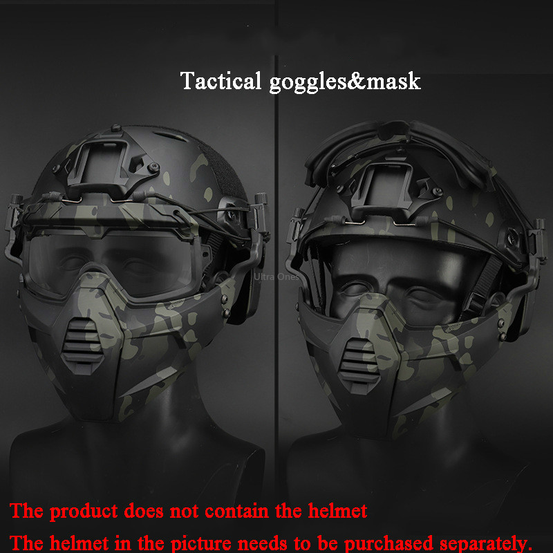 Tactical Mask Goggles Military Hunting Protective Safety Shooting Masks With Goggles Airsoft Paintball Combat Accessories Masks