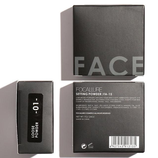 فوكالور العلامة التجارية الجديدة ماكياج مسحوق 3 ألوان فضفاضة مسحوق ماكياج الوجه مقاوم للماء مسحوق فضفاض الجلد إنهاء مسحوق 6