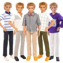 Fashion Handmade 7 Item /Set Doll Accessories Kids Toys = 5 Random Ken Clothes + 2 Doll Shoes For Ken Dolls DIY Birthday Present