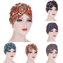 Turban Vintage pour femmes musulmanes, motif africain, couvre-chef avec nœud, mode, Bandana chaud, imprimé Floral, chapeaux pour femmes musulmanes