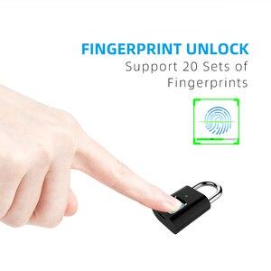 Image 3 - Akıllı parmak izi kilidi USB şarj edilebilir parmak izi asma kilit hızlı kilidini çinko alaşım Metal kendinden geliştirme çip kapı bagaj