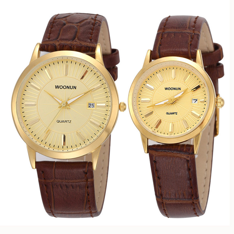 Luxury Couple Watch Fashion Lover Pair Watches Leather Band Quartz Watches Waterproof Shockproof Reloj Mujer Relogio Masculino