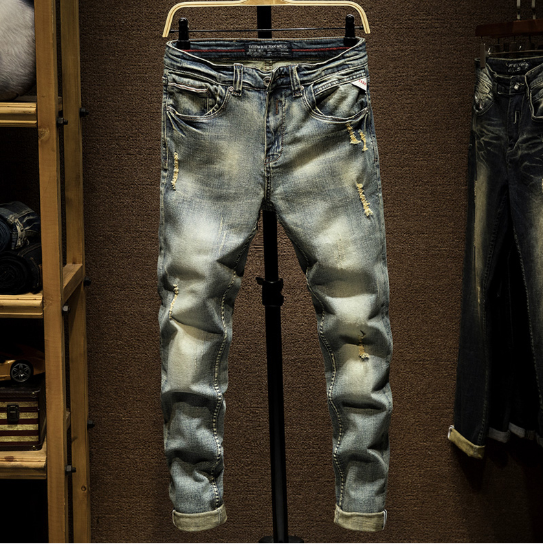 KSTUN Ripped Jeans for Men Slim Fit Retro Blue Stretch 2020 Hip Hop Spring Autumn Mens Jeans Brand Destroyed Torn Men's Denim Jeans 11