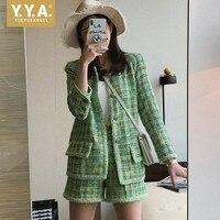 Elegant Women Plaid Tweed Jacket Fashion Office Ladies Long Sleeve Slim Fit Suit Coat Female Leisure Autumn Retro Green Jackets