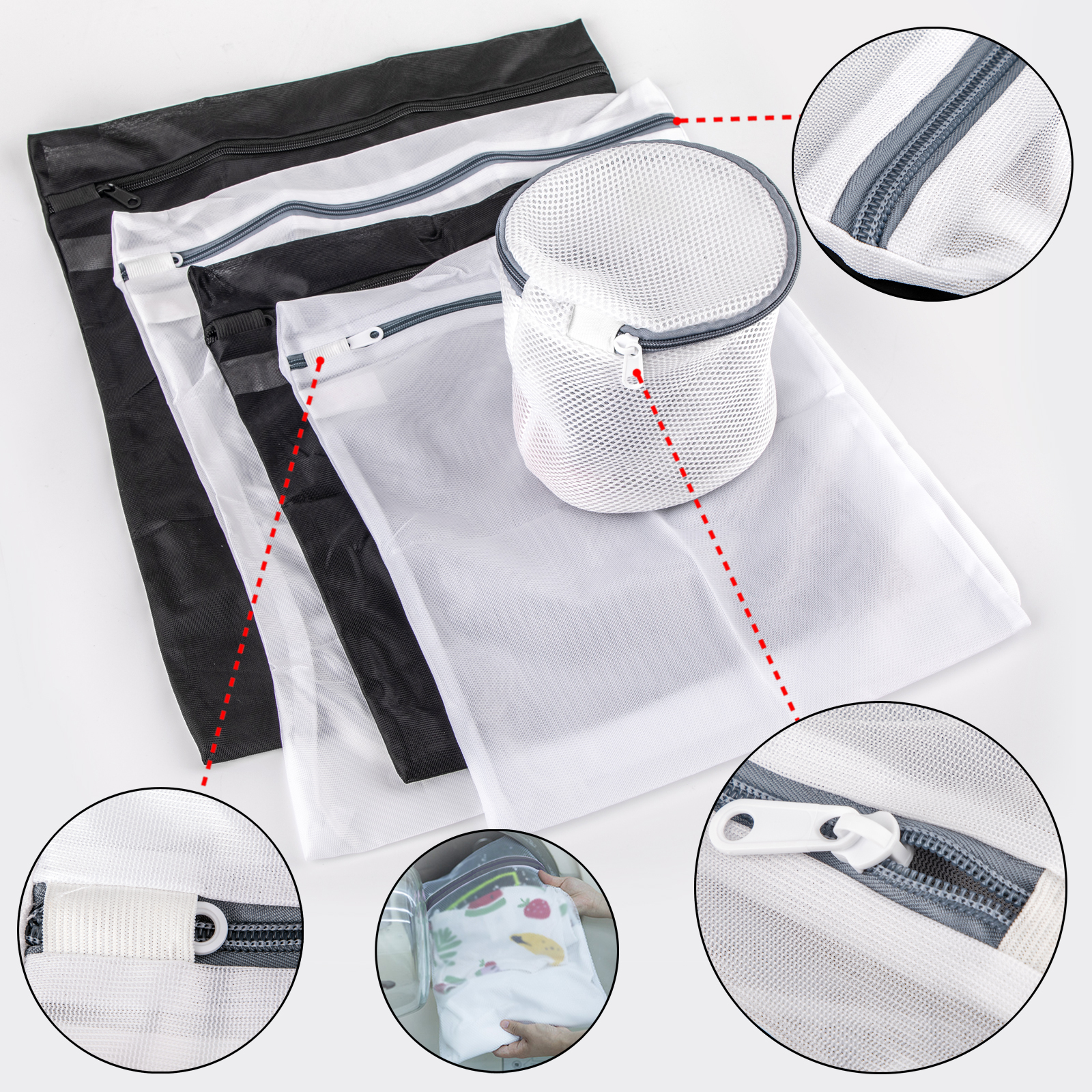 Areyourshop Zipped Laundry bags Set for bra lingerie dirty clothes shoe Black / White Travel Home Appliance