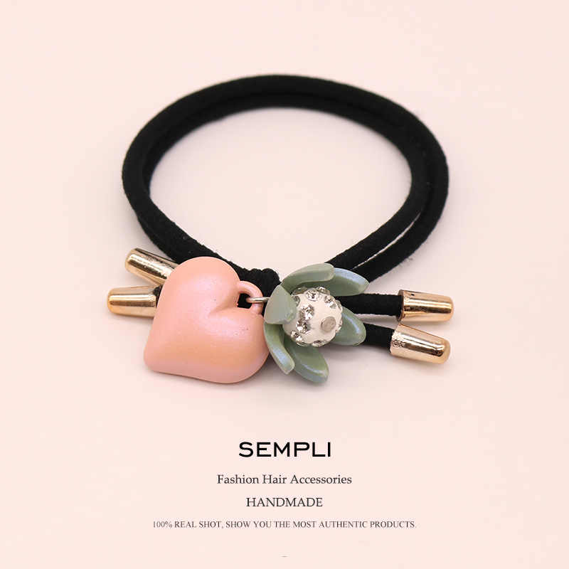 Sempli 100% Nylon Elastic Hair Bands Cotton Lily Flower For Women Girl Glitter Beaded Headwear Heart Hair Accessories Scrunchie