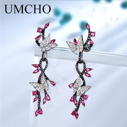 UMCHO 925 Sterling Silver Drop Earrings for Women Butterfly Natural Gemstone Black Spinel Ruby Vintage Romantic Wedding Jewelry