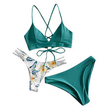 Bikini-Set Swimsuit Thong Print Two-Pieces Girls Beach Women Brazilian Biquinis Push-Up