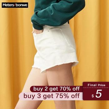 Metersbonwe Europe sertissage couleur unie Denim Shorts pour les femmes 2019 été nouvelle marque à la mode mince décontracté femmes taille haute Shorts