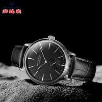 바다 갈매기 비즈니스 시계 남자 기계식 손목 시계 50m 방수 가죽 발렌타인 남성 시계 519.12.6075