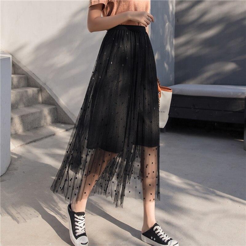 2019 Summer Wear New Style Korean-style Polka Dot Mesh Skirt Skirt Women's Mid-length Fairy Pleated Skirt