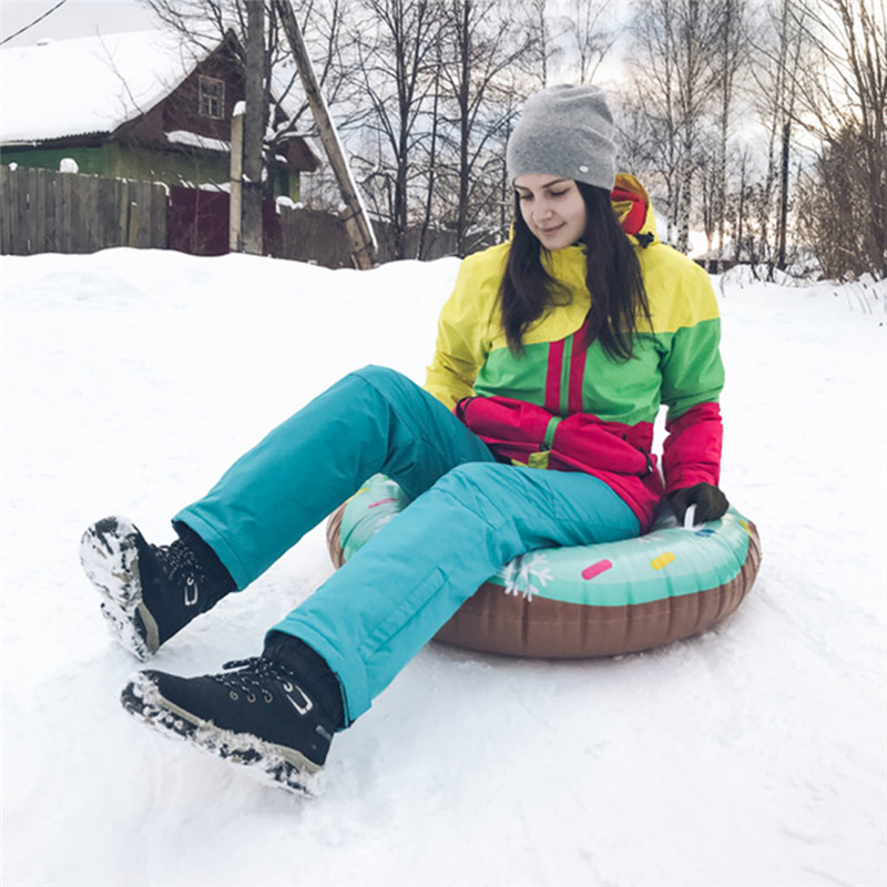 Outdoor Winter Children And Adult Skiing Pad Board PVC Inflatable Durable Tire Snowboard Sleds Handle Design