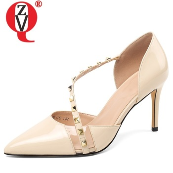 ZVQ spring new fashion sexy women pumps outside super high heels pointed toe rivet party women shoes drop shipping size 33-39