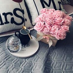Image 5 - 10 ראשי 8CM די מקסים פרחים מלאכותיים PE קצף רוז פרחי כלה זר בית חתונת דקור רעיונות DIY ספקי