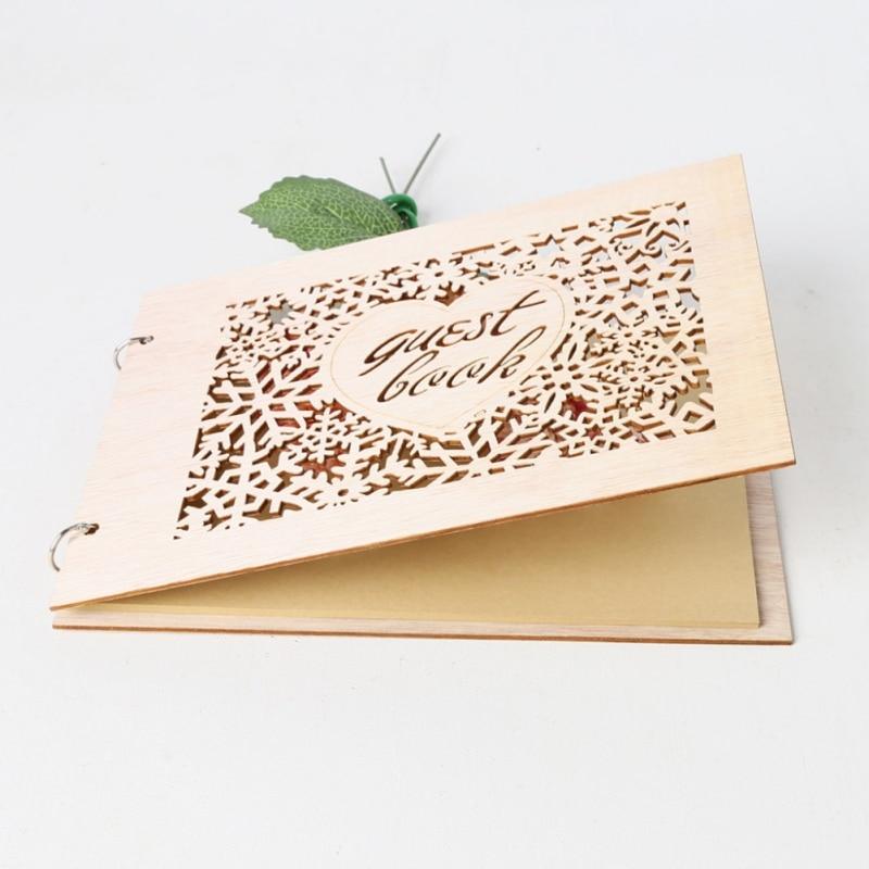 Wedding Guest Book Wooden Wedding Signboard Heart Shape Supplies Notebook Wedding Decoration Party Supplies Birthday Guest Book