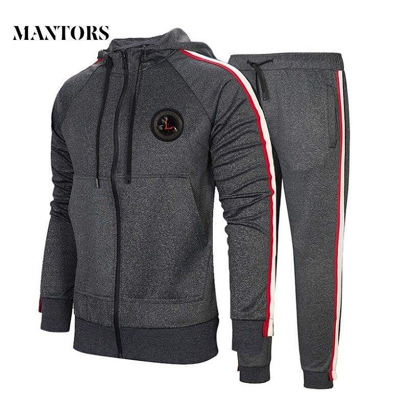 Autumn Men Set 2019 Casual Sportswear Suit Hooded Sweatshirt Tracksuit Men's Solid Zipper Jackets 2PC Hoodies + Pants Sets Male