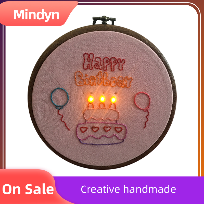 Handmade Electronic Embroidery Material Package Cute Glowing Birthday Cake DIY Gift Home Store Multi-occupation Decoration