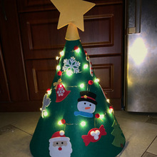 3D Felt Christmas Tree Ornaments DIY with LED String Light Childrens New Year Gifts Toddler Decoration