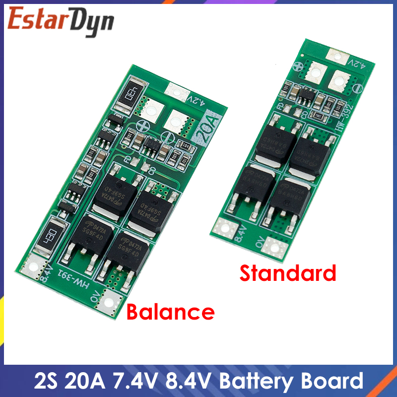 2S 20A 7,4 V 8,4 V 18650 Защитная плата литиевой батареи/плата BMS стандартная балансировочная версия