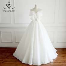 로맨틱 보우 웨딩 드레스 2020 Swanskirt 패션 쉬폰 레이스 업 a 라인 프린세스 코트 트레인 신부 가운 Vestido de noiva FY09