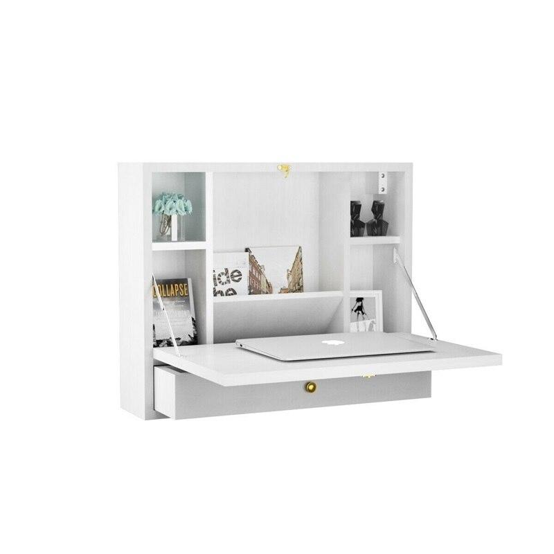 Bureau d'ordinateur portable pliant mural rangement avec tiroir bureaux d'ordinateur multifonctions meubles de maison pliables HW60360