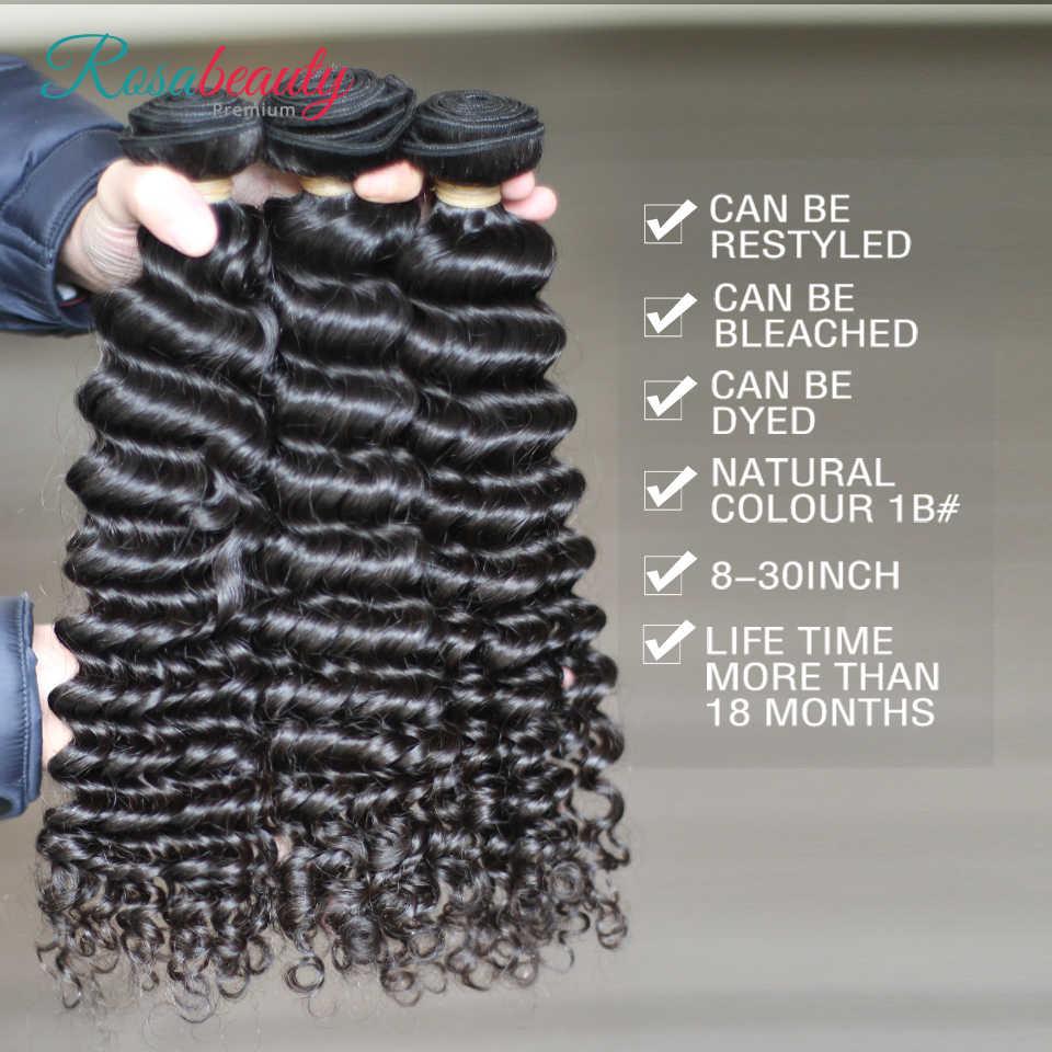 "Rosabeauty 8 ""-28"" Gelombang Dalam Rambut Malaysia Keriting Rambut Manusia Menenun 30Inch Bundel Alami warna Rambut Ekstensi"