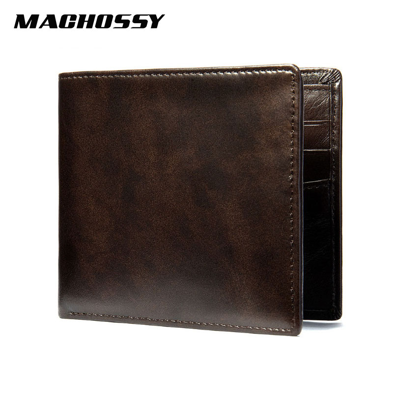 New Soft Leather Wallet Ultra Thin Men's Genuine Leather Wallets Man Small Card Holder Wallets Vintage Short Purse For Male