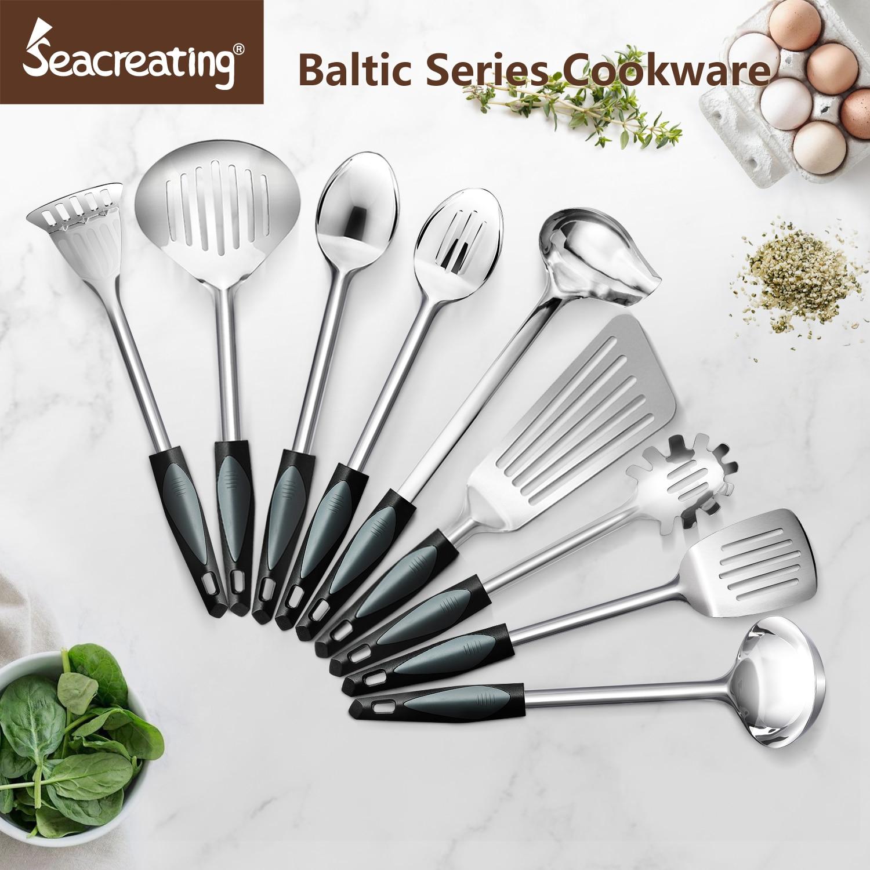Seacreating Baltic Series Stainless Steel Utensil Set Cookware Ladel Frying Turner Spoon Skimmer Potato Masher Spaghetti Sever